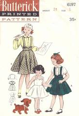 1950's Girls Scallop Sundress, Skirt, Blouse Pattern Size 6