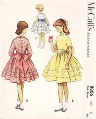 1950's McCall's 8806 Girls Scallop Tiered Dress Pattern Size 6