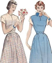 1950's Butterick 5791 Wing Cuff Dress Pattern Bust 34