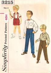 1950's Simplicity 3215 Boys Shirt, Pants, Shorts Pattern Size 6
