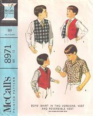 1960's Boys Yoked Shirt and Reversible Vest Pattern Size 12
