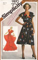 1980's Simplicity 9870 Surplice Gown and Dress Pattern Bust 34