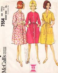 1960's Vintage McCall's 7554 Front Button Robe Pattern Bst 31-32