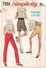 1960's Simplicity 7351 Straight Pants and Shorts Pattern W26