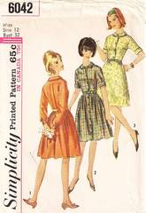 1960's Bermuda Collar Back Pleat Shirtwaist Dress Pattern B32