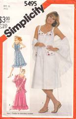 1980's Simplicity 5495 Pullover Sundress Pattern Bust 34
