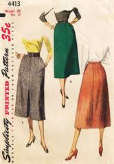 1950's Simplicity 4413 Inverted Front Pleat Skirt Pattern W26