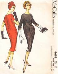1950's Oval Silhouette, Tapered Hem Sack Dress Pattern