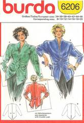 Vintage 1980's Burda 6206 Dramatic Blouse Pattern