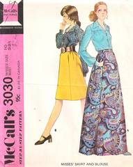 Vtg 70's Short Skirt, Evening Skirt and Blouse Pattern