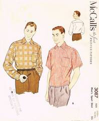 1950's Vtg McCall's 3087 Unique Mens' Yoke Shirt Pattern Sz Med