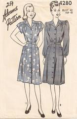 1940's Advance 4280 Front Buttoned Dress Pattern Bust 42