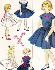 50's Vtg Girls Candy Cane Dress and Petticoat Pattern Sz 8