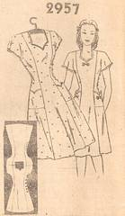 Late 1930's Side Buttoned Dress Mali Order Pattern Bust 40