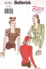 Butterick 6701 Retro '43 Shaped Hem Blouse Pattern 12, 14, 16