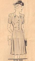 Late 1930's Vestee Front Dress Mail Order Pattern Bust 40