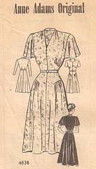 Late 1930's Anne Adams Gather Detail Dress Pattern Bust 40