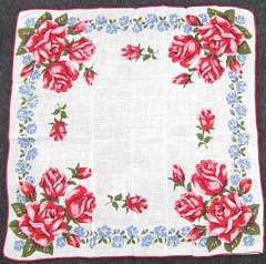 Large Red and Pink Roses Vintage Hankie