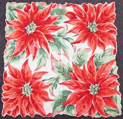 Vintage Christmas Hankie Large Bold Poinsettias