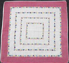 Maroon Windowpane Border and Tiny Flowers Hankie