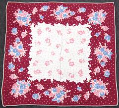 Maroon, Coral, Blue Flowers and Polka Dots Hankie