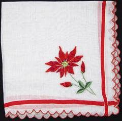 Embroidered Poinsettia Ribbon Weave Border Hankie