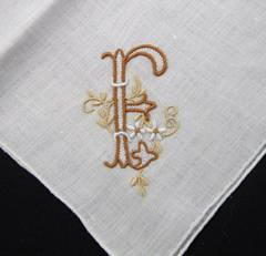 Monogram F Brown and Tan on White Vintage Hankie