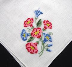Blue and Pink Morning Glories Embroidered Vintage Hankie