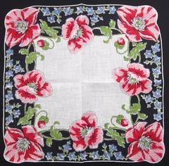 Pink Poppies and Blue Bells Vivid Vintage Cotton Hankie