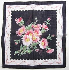 Pink Daisies and Midnight Blue Vintage Cotton Hankie