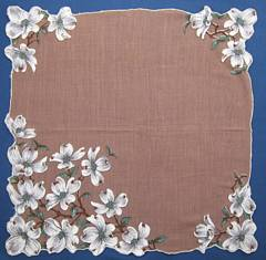 Hand Painted White Dogwood Blossoms Vintage Hankie