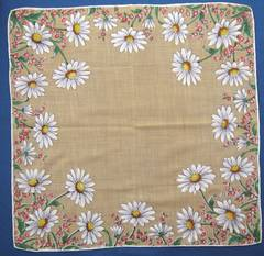 Daisy Border Vintage Hankie Rolled Edges