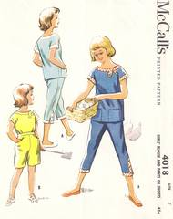 1950's McCall's 4018 Tab Blouse, Pants, Shorts Pattern Girls 7