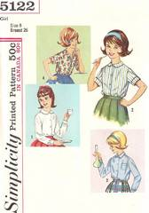 1960's Vtg Simplicity 5122 Girls Blouses Pattern Size 8