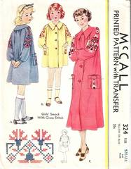 1930's Vintage McCall 324 Girls Smock Pattern Small 6-8