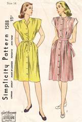 40's WWII Era Simplicity 1588 Maternity Dress Pattern