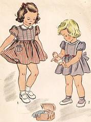 1940's Vintage Girls Dress and Panties Pattern Size 1