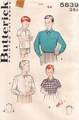 1950's Boys Polo and Regulation Shirts Pattern Size 14