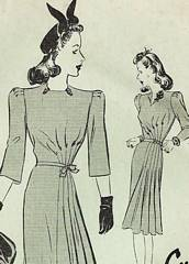 Late 30's Butterick 1280 Seven Gore Side Flair Dress Pattern B38