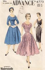 50's Advance 6773 Scoop Neck Sheath Coat Dress Pattern B32