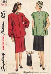 1940's Simplicity 1880 Two-Piece Maternity Dress Pattern B34