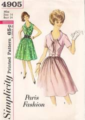 60's Vtg Tie Collar Step-In Dress Pattern Simplicity 4905 B34