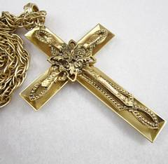 Lavish Ornate Whiting Davis Pendant Cross Necklace
