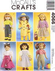 McCall's 4066 Craft Pattern 18 Inch Doll Clothes