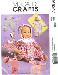 McCall's 5347 Baby Doll Clothes Pattern in Two Sizes