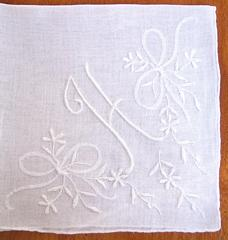 Monogram H White on White Vintage Linen Hankie