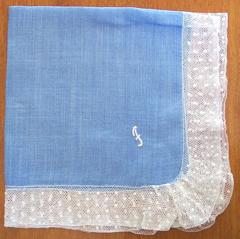 Monogram F Fancy Net Lace Edge Vintage Hankie
