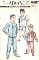 50's Banded Cardigan and Pullover Boys Pajamas Pattern 14