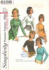 60's Bias Roll Collar Blouse Pattern Bust 32