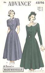 1940's New Look Era Advance Dress Pattern 4896 Bust 34